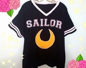 Sailor Moon Inspired Fashion Jersey Football Top - Holographic Or Fuzzy Option Sizes XS-4X