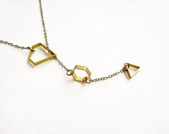 Geometric Lariat Necklace, Minimal Y Necklace, Minimalist Jewelry- Tiny Treasures Collection