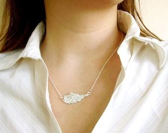 Silver Wing Necklace,  Bridesmaid Necklace, Angel Wing Necklace, Rhinestone Necklace