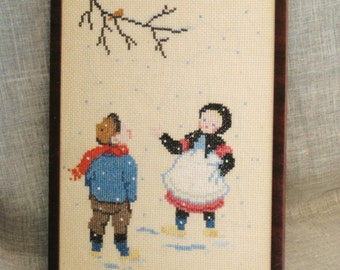 Vintage Cross Stitch Child Portrait, Children, Winter Scene, Framed, Needlework, Embroidery, Vintage Art, Handmade, Hand Sewn, Snow