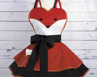 Fox Apron Womens Woodland FairyTale Apron ready to ship