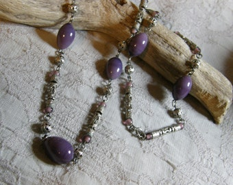 "Vintage silver purple glass bead necklace - 28"" long"