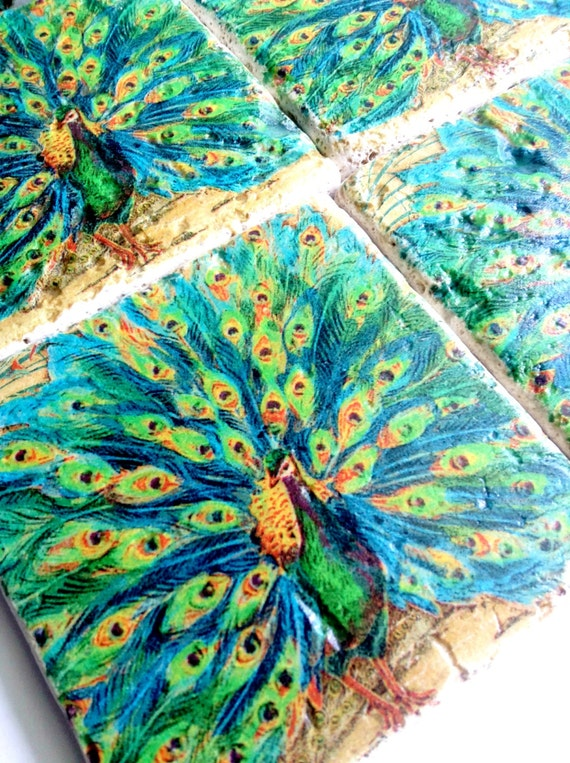 Colorful Peacock Blue and Green-  Set of Travertine Drink Coasters (4) Unique Stand included for Display.