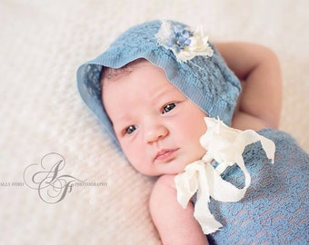Newborn Bonnet and Pants Set. Newborn Pants.  Blue. Infant. Stretch.Lace Fabric. Photograpy Prop. Fabric Bonnet.AVERY.Tolola Design.