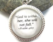 """Bible Quote Necklace, """"God is within her, she will not fall."""", Psalm 46:5 - Silver or Bronzed, Biblical Quote Necklace"""