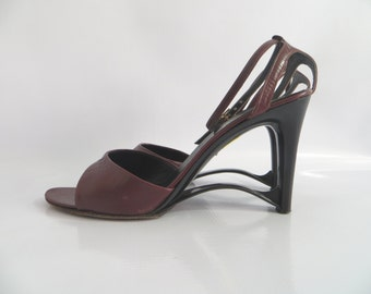 Vintage 60s Andrew Geller Heels Burgundy Leather Mary Jane Size 8