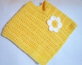 Baby Girl Poncho, Yellow Crochet Baby Poncho, Infant Outerwear, Easter Shawl, Springtime Photo Prop, Baby Size 3 to 9 month, Daisy Top