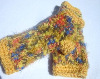 Yellow Fingerless Gloves with Blue Orange and Brown Brushed, Multicolored Handwarmers