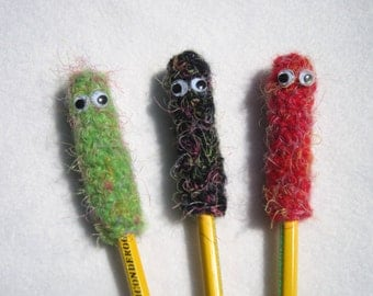 Monster Pencil Toppers Set of 3 Crocheted Back to School Birthday Party Favors, Funny Idea for Gift Bags for Kids, Beginning of School Gift