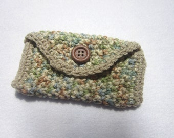 Crocheted Purse Pouch in Tan Green and Blue Business Card Holder Tissue Holder