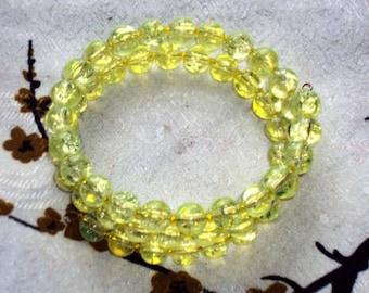 LEMON ICE Crackle Beads - Memory Wire Wrap Bracelet