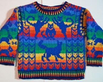 Knitting Pattern: Rainbow Animals Size Three Years