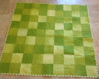 Green Squares Baby Quilt -- Zig Zag Chevron backing
