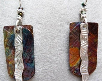 Textured Colored Copper and Silver Sterling Earrings