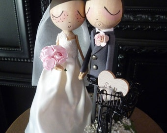 Wedding Cake Topper with Custom Wedding Dress and Bicycle- Custom Keepsake by MilkTea