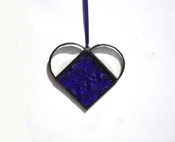 Blue heart suncatcher stained glass window art Valentines day navy blue keepsake love romance