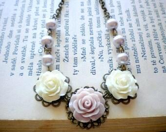 Lavender Necklace Rose Bib Necklace Romantic Bridesmaid Necklace Lavender Wedding Jewelry Rose Necklace Bib Flower Necklace Rose Jewelry