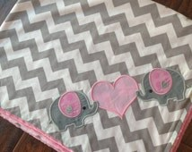 Personalized Baby Blanket 30x35- Elephant Blanket- Chevron Minky Blanket- Applique Baby Blanket- Custom Blanket- Design Your Own Blanket
