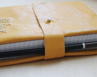 Belt wrap closure with button stud/snap and pen loop journal UPGRADE