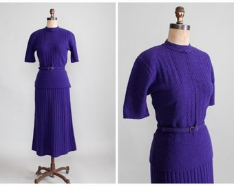 Vintage 1950s Dress : 50s Purple Wool Sweater Set