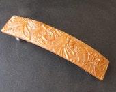 Polymer Clay Barrette 3.5 inch -  Peach