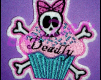 CUSTOM Deadly Cupcake with your name on it  5x5 inches Skull Bow Pink Turquoise Pirate Cupcake Embroidered Patch Iron on Patch Crossbones