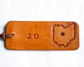 Love Ohio - personalized travel Luggage tag - Heart or Star on your city in Ohio - key ring or suede cord