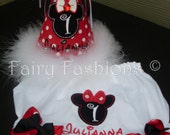 Custom set...MISS MOUSE RED party hat and bloomers..birthday..minnie..any color..any theme...diaper cover...first birthday bloomers,children