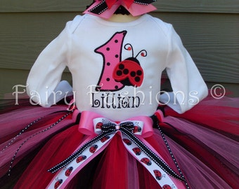 Custom Tutus..LADYBUG RED and PINK tutu set, size 3,6,9,12,18,24 months and 2T,3T,4T,5T,6.costume, lady bug, dress up, fairy, birthday party