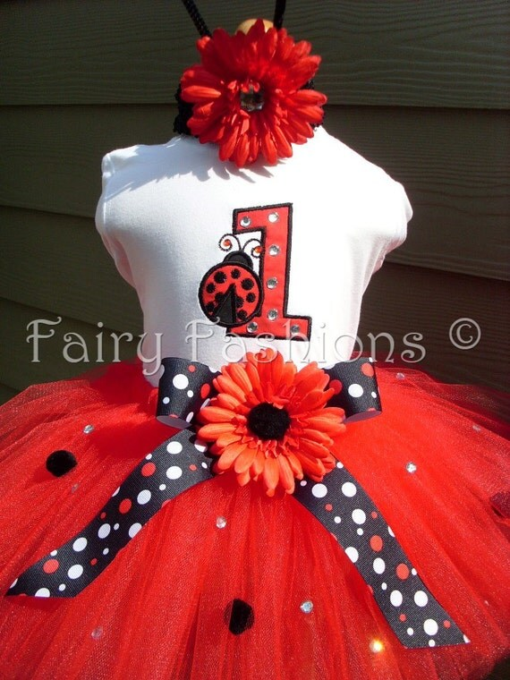 Custom Tutus... BIRTHDAY NUMBER LADYBUG...any color..sizes 3,6,9,12,18,24 months and 2T,3T,4T,5T,6T years,costume, birthday party