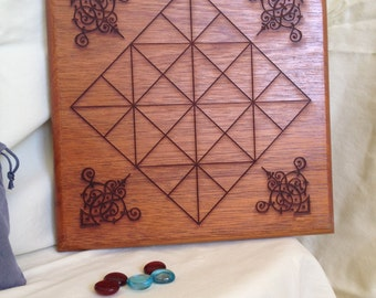 Fox & Geese plus Alquerque game in Mahogany - two sided board