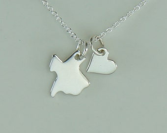 Sterling Silver Texas Charm Necklace and Tiny Heart Charm