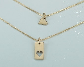 Mother Daughter Heart Necklace- Two Gold Heart Charms-Matching Heart Necklace-Best Friend Necklace Set