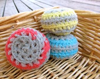 Set of 3- Gray Swirl Nylon Net Scrubbies
