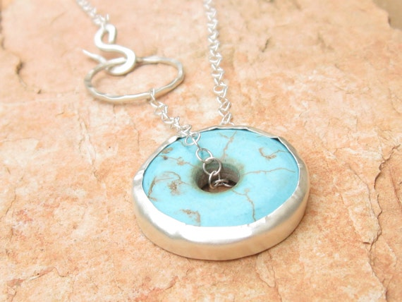 Turquoise Necklace.Sterling Silver and Turquoise Disc Necklace.Turquoise with Sterling Silver Chain.Turquoise Disc Chain.Stone Necklace