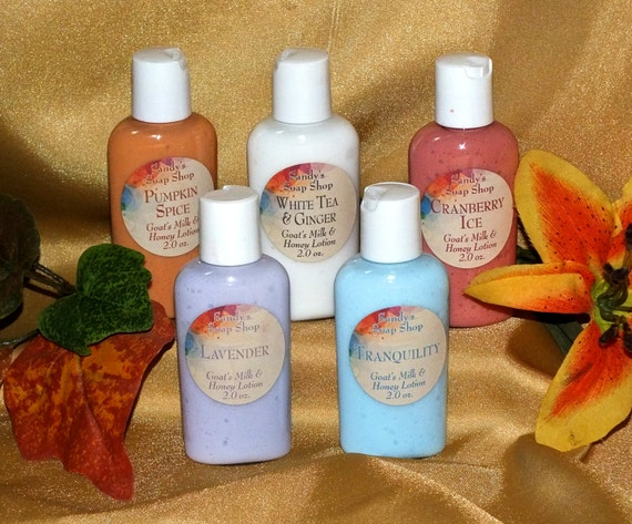 Goat Milk and Honey Lotions  2 oz Travel Size  5 Lotions for Fifteen  Dollars Free Shipping