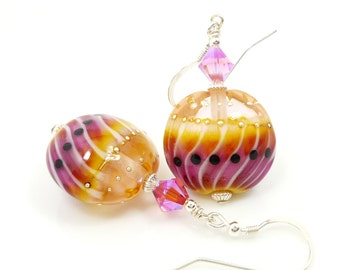 Pink & Yellow Earrings, Lampwork Earrings, Glass Earrings, Glass Bead Earrings, Watermelon Earrings, Beadwork Earrings, Lampwork Jewelry