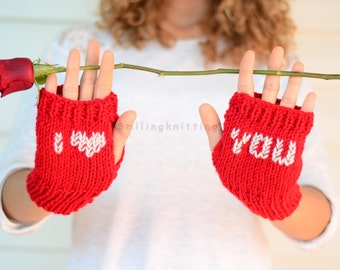 Heart Knit Gloves, Valentines Day Gift, Love,Red Fingerless Gloves, I Love You, Hand Knit Gloves, Arm Warmers, Gift For Her, Under 25