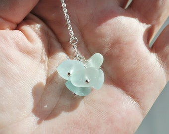Sea Glass Jewelry Necklace Clustered Bright Sea Blue Sterling Silver 1984C