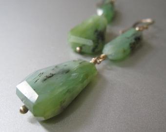 Green Dendritic Opal Double Drops Solid 14k Gold Earrings