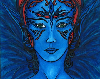 """Once in a Blue Moon/ Blue Fairy /Signed 8"""" by 10"""" Print on Photo Paper"""