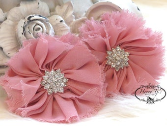 """2 pcs 2.5"""" Adeila Collection VINTAGE PINK Shabby Frayed Vintage Chiffon Ruffle Flowers with Rhinestone, applique , hair accessories"""
