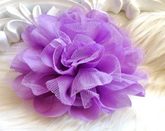 2pcs New Large Shabby Chic Frayed Wrinkled Cotton Voile and Tulle Rose Fabric Flower - Lilac