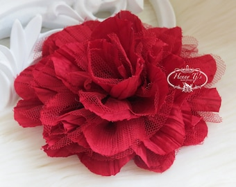 1 pc New Large Shabby Chic Frayed Wrinkled Cotton Voile and Tulle Rose Fabric Flower - BURGUNDY