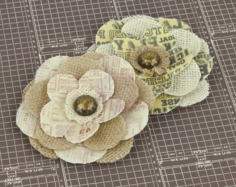 "SALE CLEARANCE 30% off : Prima ""AllStar"" 570866 Canvas Fabric Flowers Vintage Inspired Flower Appliques. HAir accessories, Hair Ornament."
