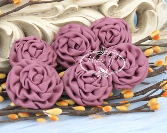 New: 6 pcs MAGENTA 1.5 inch Adorable PETITE Matte Satin Rolled Rose Rosettes Fabric flowers. Mini Silk Rolled Rosette Appliques.