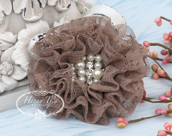 NEW: The Sunridge- 2 pcs 3 inch TAUPE Ruffled Lace Fabric Flowers w/ rhinestones pearls center for Bridal Sashes, Hair Appliques Accessories