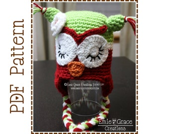 Crochet Owl Hat Pattern, Sleepy or Awake Ear Flap, CHRISTMAS WHAT - A - Hoot Owl - pdf 107