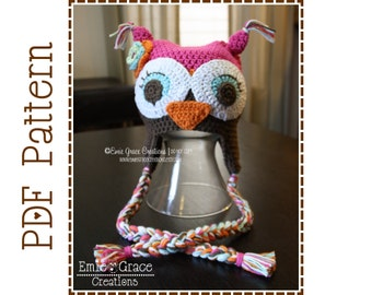 Owl Hat Crochet Pattern, 8 Sizes from Newborn to Adult, WHO LOVES YOU Owl - pdf 130