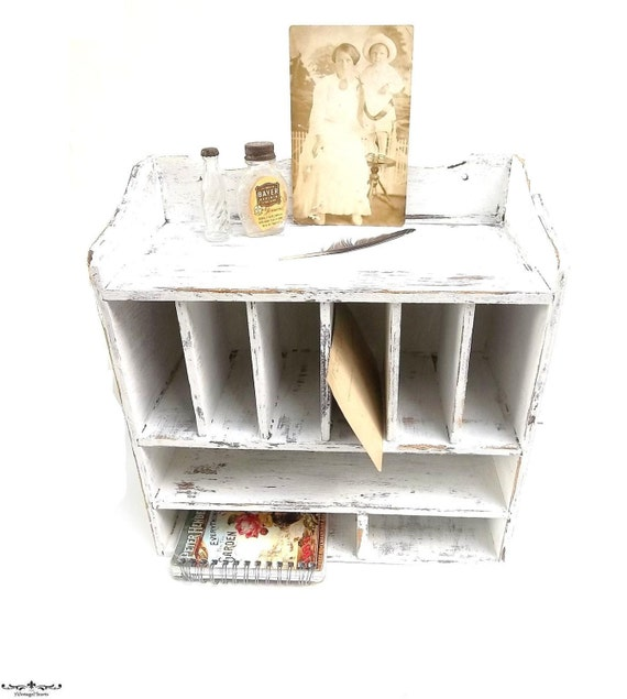 Vintage Shabby Cottage Chic Wood Cubby Shelf Pigeon Hole Mail